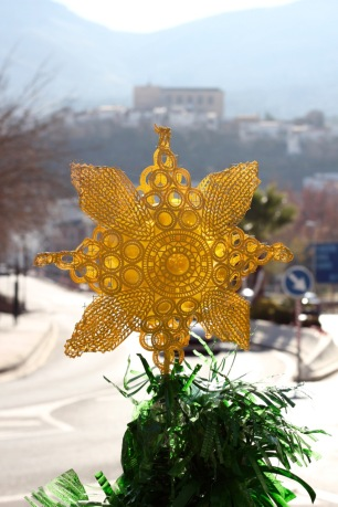 Decorations made from recycled bottles, Loja, Spain