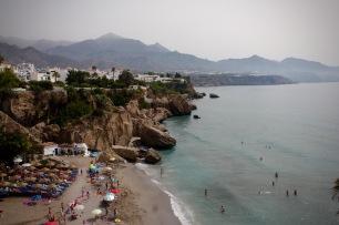 Calahonda Beach & Distant Views of Burriana Beach & Maro, from Balcón de Europa – Balcony of Europe, Nerja, Andalucia