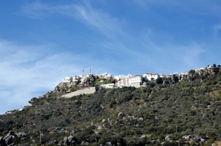 Comares, Andalucia. View from below driving up the hill