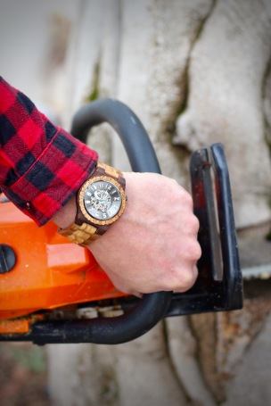 JORD Olive and Acacia Wood Watch Review by Topsy Turvy Tribe. Wearing this unique watch whilst cutting wood with a chainsaw