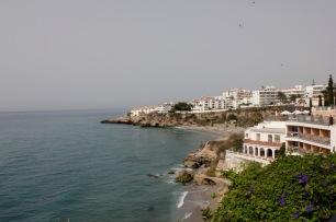 View of La Caletilla beach, El Salon beach & the rocky promontory at Torrecilla beach from Balcón de Europa – Balcony of Europe, Nerja, Andalucia