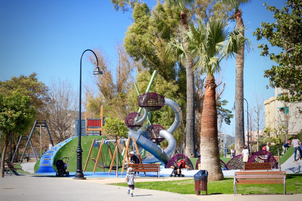 Running to the park Antequera Andalucia