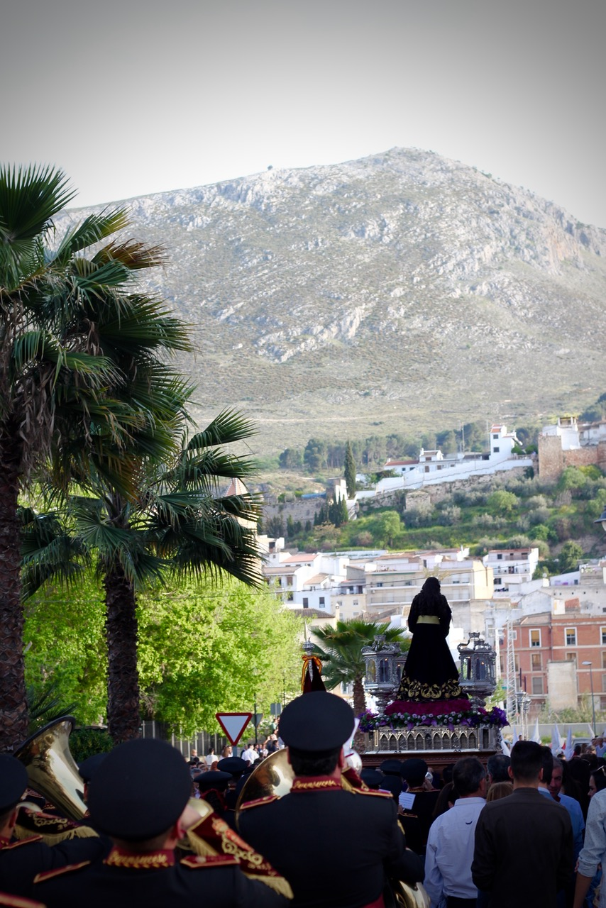 Jesus statue being carried through the streets during Semana Santa in Loja Granada, Spain